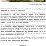 Colsiba carta  a  delegaciones  de  Gobiernos  conferencia  OIT- 2015.