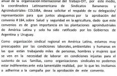 Colsiba,  carta  delegados  sindicales, convenio #  184, OIT- Mayo  2015.