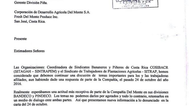 Sindicatos en Costa Rica pidenDiálogo con la empresa Corporación de Desarrollos Agricolas del monte