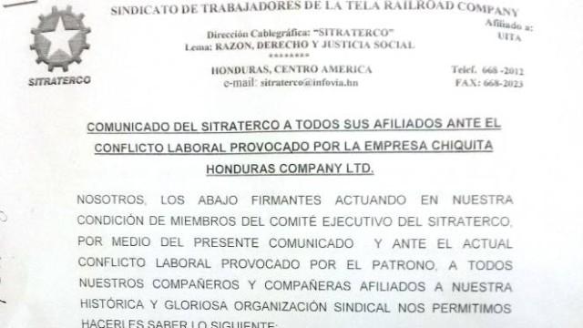 Honduras: Comunicado SITRATERCO