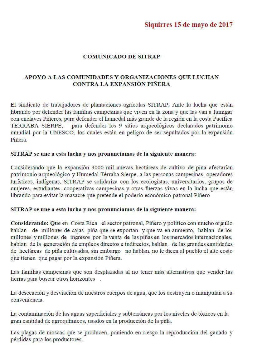 COMUNICADO DE SITRAP