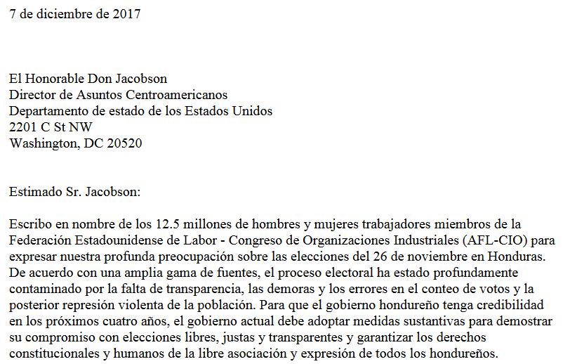Carta de la AFLCIO a Director Jacobson